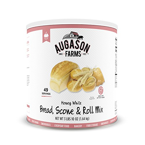 Augason Farms Honey White Bread Scone & Roll Mix 3 lbs 10 oz No. 10 Can by Augason Farms