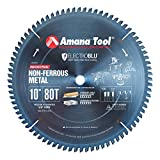 Amana Tool 510801C Electro Blu Carbide Tipped Aluminum and Non-Ferrous Metals 10 Inch D x 80T TCG, -6 Deg, 5/8 Bore, Non-Stick Coated Circular Saw Blade