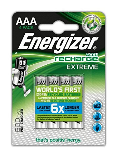 4X Energizer AccuRecharge Extreme AAA 800mAh HR3 Rechargeable NiMH Batteries