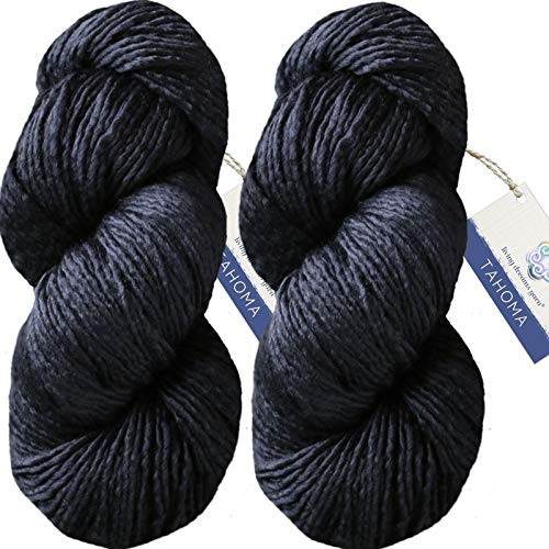 (Living Dreams Tahoma Luxuriously Soft Merino Silk Yarn. Cruelty Free & Responsibly Sourced. Hand Dyed in USA. Aran Weight, Twin Pack, Midnight)
