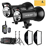 GODOX SK400II 110V 800W 2.4G Photography Flash Studio Strobe Kit Two 400w Sk400II Monolight Lighting,Includes 2 X 400W SK400II Strobe Light+2X Light Stand+2 X 60X90 cm SoftBox+1X Standard Reflector +XT-16 Transmitter for Professional Photography Studio