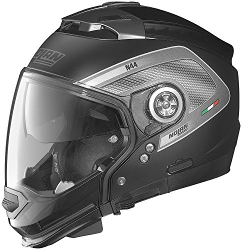 Nolan N-44 N-Com Tech Helmet, Distinct Name: Flat Black/Anthracite, Gender: Mens/Unisex, Helmet Category: Street, Helmet Type: Modular Helmets, Primary Color: Black, Size: 2XS N445277920249