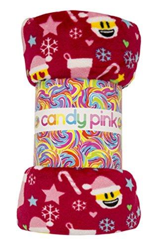 Candy Pink Christmas Xmas Emoji Blanket Throw Blanket ()