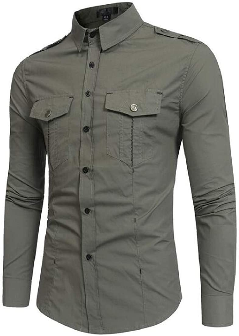 GRMO Men Button Down Casual Military Work Pockets Long Sleeve Dress Shirt