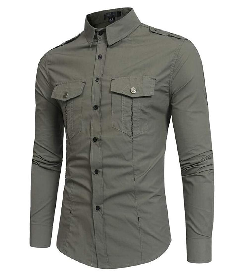 Fubotevic Men Military Tactical Pockets Button Front Long Sleeve Casual Shirts