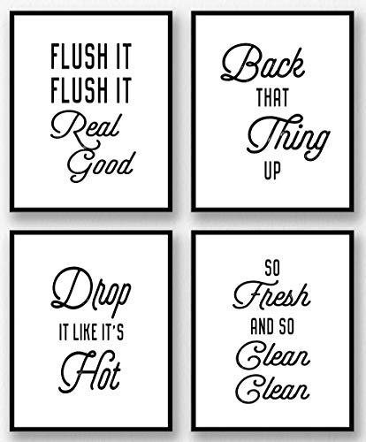 Brooke & Vine Funny Bathroom Wall Art Prints Restroom Powder Room Wall Art Decor Signs Posters (Set of 4 Unframed - 8 x 10) Flush It, So Fresh