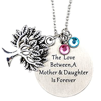 O.RIYA Mother's Day Gifts From Daughter?the Love Between Mother and Daughter Is Forever Necklace Jewelry with Heart Charm Pendant