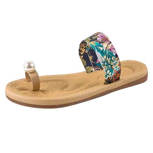 Playa Plana Zapatillas Verano Mujeres Antideslizante Sandalias Perla Sandalias Dedo del pie Zapatillas: Amazon.es: Zapatos y complementos