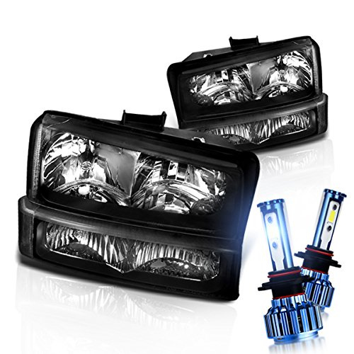 Instyleparts Chevy Silverado Avalanche Clear Lens Headlights Bumper Lights Set with 6000K LED Kit in Black Housing