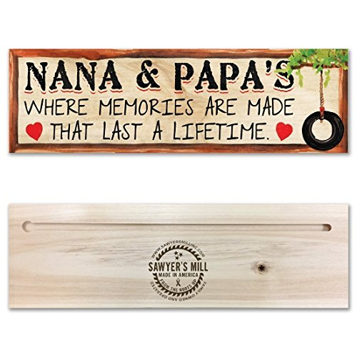 Nana and Papa's, Where Memories are Made that Last a Lifetime | 4-inch by 12-inch | Handmade Wood Block Sign with Grandparents (Hand Painted Welcome Signs)