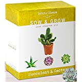 Nature's Blossom Cactus & Succulent Growing Kit. A Complete Set to Grow Succulents & Cacti Plants From Seed. Planting Pots, Organic Soil & Gardening Guide Included. Indoor Garden Gift for Men & Women