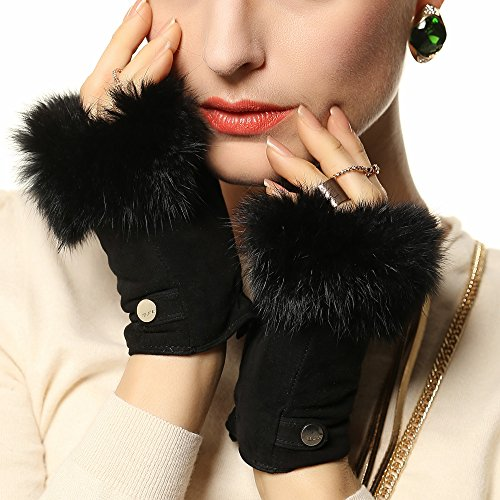 ELMA Women's Genuine Suede Leather Fingerless Gloves with Supple Rabbit Fur Trim Gold Plated Logo (XL, Black) (Suede Leather Genuine Ladies)