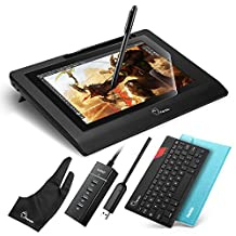 """Parblo Coast10 10.1"""" IPS Graphic Tablet Drawing Monitor Display Painting with Cordless Battery-free Pen,9"""" Black Bluetooth Keyboard,9"""" PU Leather Case Blue and 10.1"""" Screen Protector"""