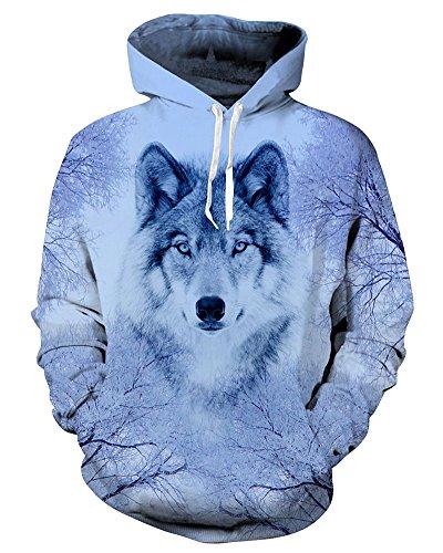 Chiclook Cool Hooded Animal Wolf Printed Hoodie Sweatshirt Harajuku Casual Coat by Chiclook Cool