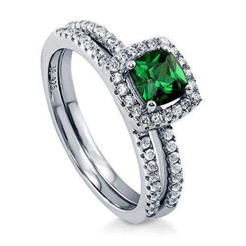 BERRICLE Rhodium Plated Sterling Silver Simulated Emerald Cushion Cut Cubic Zirconia CZ Halo Engagement Wedding Ring Set 0.89 CTW Size 5