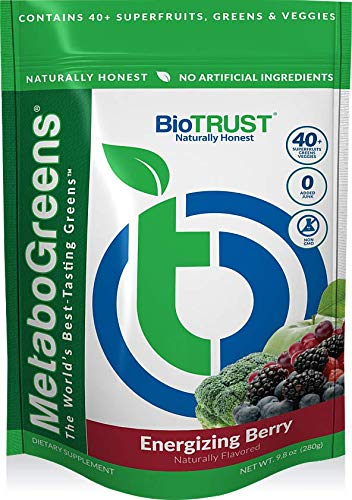 BioTrust MetaboGreens Superfood Powder | Super Greens Vegetable Powder Mix Made with Clinically-Researched Spectra | Non GMO, Soy Free, Gluten Free, Dairy Free | Energizing Berry Flavor (30 Servings)