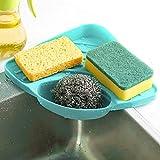 Matoen(TM) Sponges Kitchen Sink Corner Shelf Wall Cuisine Dish Rack Filter (Blue)