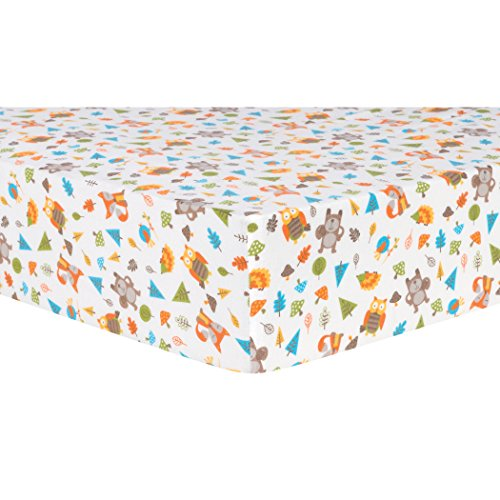 Trend Lab Cotton (Trend Lab Woodsy Animals Deluxe Flannel Fitted Crib Sheet)