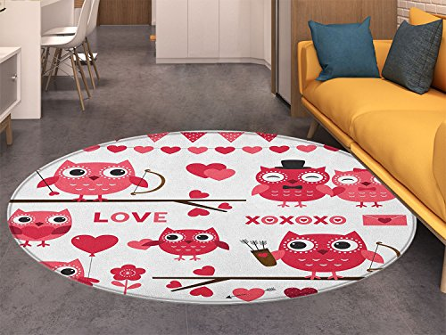Animal Print Area rug Owls Image with Romantic Elements Arrow Eyesight Partners in Amour Artful Design Perfect for any Room, Floor Carpet Red White (Arrow Andover Carpet)