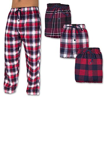 Andrew Scott Men's 3 Pack Cotton Flannel Fleece Brush Pajama Sleep & Lounge Pants (5XL, 3 Pack - Classic Flannel Assorted Plaids) (Big Mens Fleece Pajama Pants)