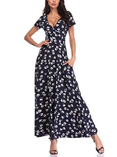 HUHOT Long Floral Short Sleeves Print V Neck A Line Unique Cross Wrap Sun Dresses 19020-3 Small