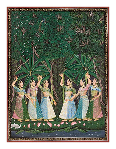Traditional Indian Painting of Gopis Searching in Forest Glade, Pichvai (Large Size) Antique Painting Style - Giclée Fine Art ()