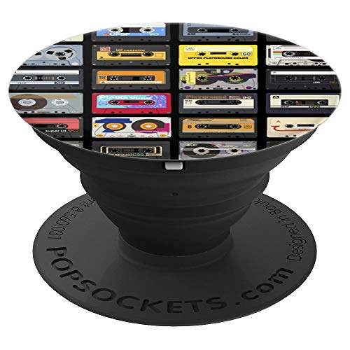 (Vintage Retro Tape Cassette Variety Pattern - PopSockets Grip and Stand for Phones and Tablets)