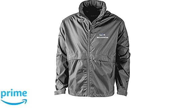Graphite large NFL Seattle Seahawks Mens Sportsman Waterproof Windbreaker Jacket