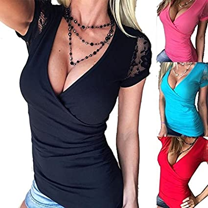 2af51512a1cd Amazon.com  moahhally Sexy Women Fashion Cleavage Deep Plunge V-Neck Basic  Stretch Ruched Lace Sleeve Wrap Top T-shirt  Home   Kitchen