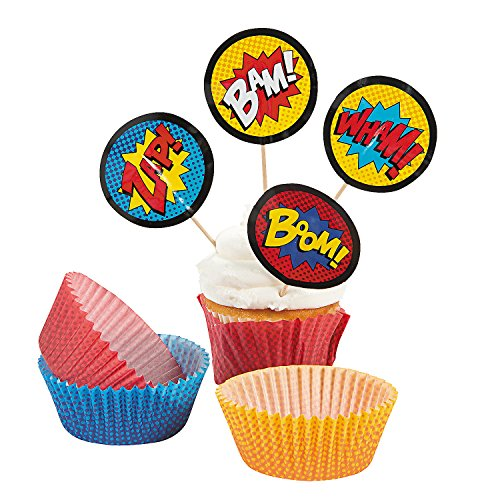 Fun Express Superhero Cupcake Liners With Picks - 100 Pieces -