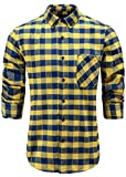 Emiqude Men's Slim Fit Flannel Cotton Long Sleeve Button-Down Plaid Dress Shirt Large Yellow Blue