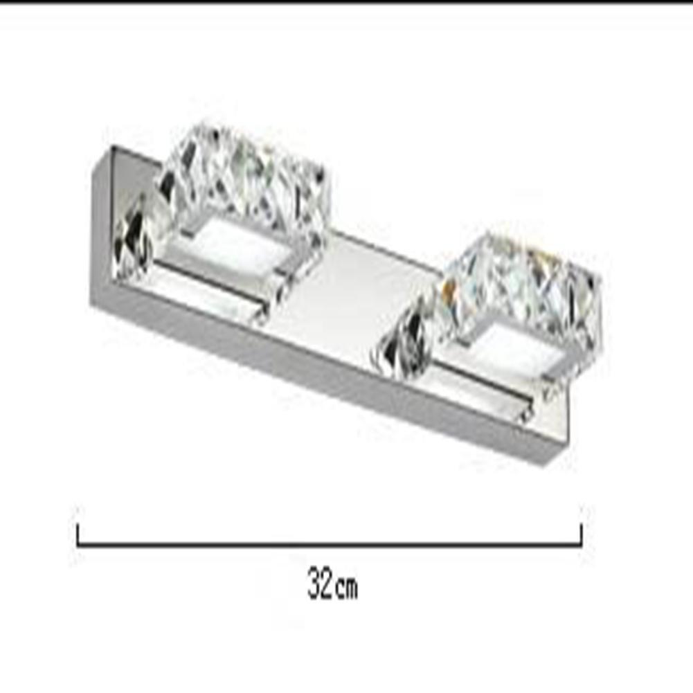JIN Luxury Fashion LED K9 Crystal Mirror Lamp Bathroom Bedroom Bathroom Mirror Stainless Steel Lamp , A , 2 Heads