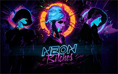 Ryan Beers neon bitches synthwave bitch girl music cyberpunk 4' Size Home Decoration Canvas Poster Print
