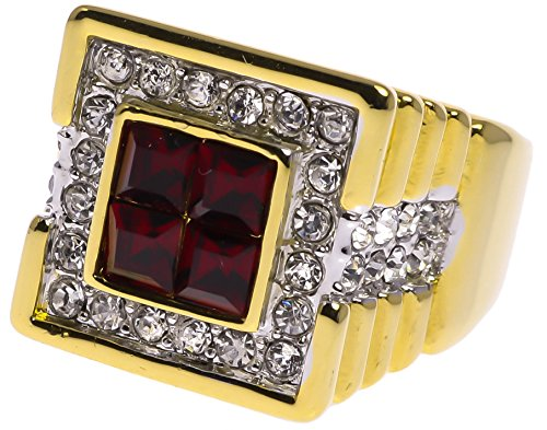 True-Blood-Mens-Ring-Ruby-Red-Simulated-Russian-czs-18K-Gold-Overlay