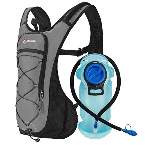MIRACOL Hydration Backpack with 2L BPA-Free Bladder Lightweight Hydration Pack for Running Hiking Climbing Biking Cycling Skiing (Grey)