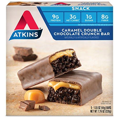 Atkins Snack Bar, Caramel Double Chocolate Crunch, 5 (Caramel Double Chocolate Crunch Bars)