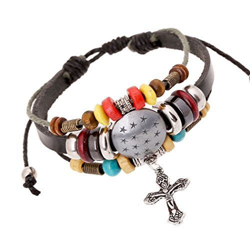 [Time Pawnshop Handmade Cross Star Shield Multilayer Charm Adjustable All-match Bracelet] (Womens Material Pop Star Costumes)
