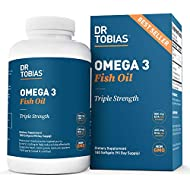 Dr Tobias Omega 3 Fish Oil Triple Strength, 2,000mg, Burpless, Non-GMO, NSF-Certified (180 Softgels)