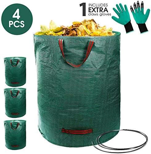 Masthome - Lote de 4 sacos de basura para jardín (272 x 4 cm, con guantes de trabajo, polipropileno resistente, reutilizables, con dos asas): Amazon.es: Jardín