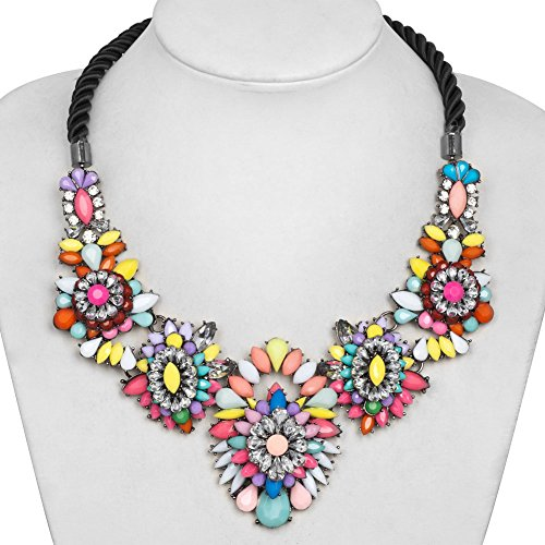 CharmsStory Statement Necklace Rhinestone Muticolor