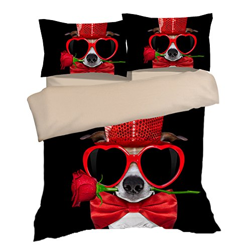 Special Cute Red Rose Glasses Dog Cotton Microfiber 3pc 104''x90'' Bedding Quilt Duvet Cover Sets 2 Pillow Cases King Size by DIY Duvetcover