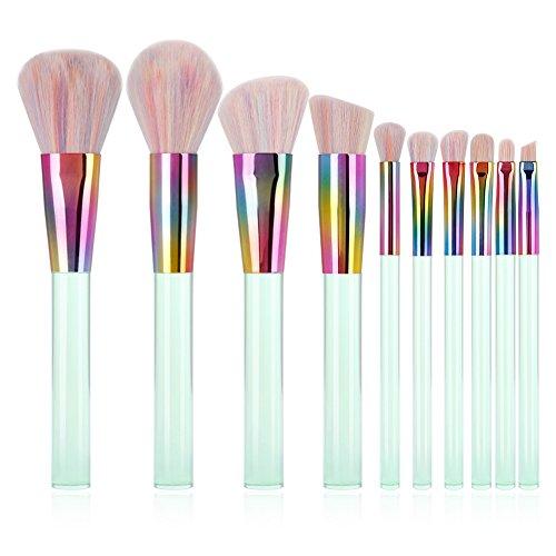 Docolor 10Pcs Professional Makeup Brushes Premium Synthetic Kabuki Foundation Blending Eyeshadow Kit