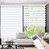Yoolax Motorized Day & Night Window Shades, Horizontal Zebra Dual Roller Blinds Wireless & Rechargeable Remote Control Shades for Home Office Customized(White)