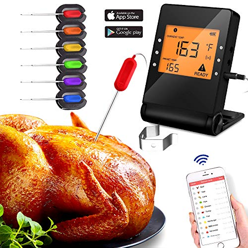 - Wireless Meat Thermometer Probe Bluetooth BBQ Remote Digital Cooking Thermometer with 6 Probes Port for Smoker Grilling Oven Griddle Kitchen Support iOS and Android