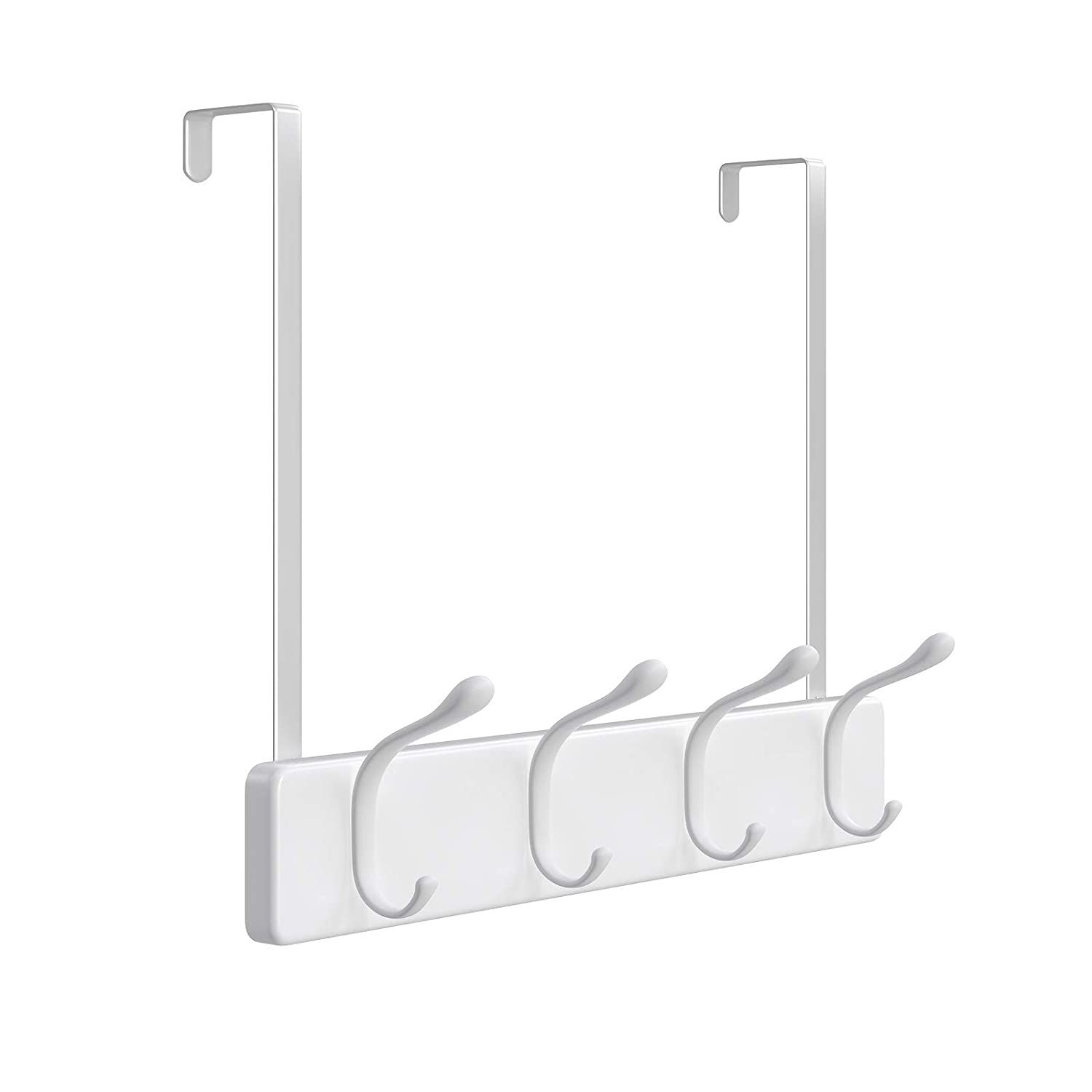 SONGMICS Over-The-Door Hook Rack, Wall-Mounted Coat Rack, Door Clothes Hanger with 4 Metal Hooks, for Living Room, Cloakroom, Bathroom, White ULHR24WT