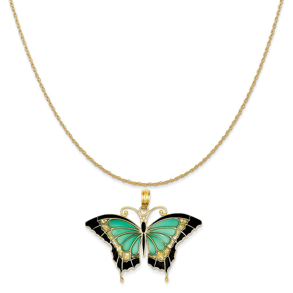 14k Yellow Gold Aqua Stained Glass with Acrylic Wings Butterfly Pendant on Rope Chain Necklace, 20'' by Mireval