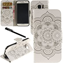 Urvoix Galaxy S7 Case, Card Holder Stand Leather Wallet Case - White Flower Flip Cover for G930 Samsung Galaxy S7