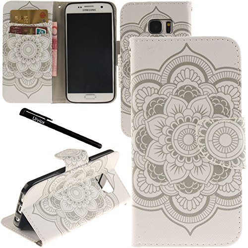 (Urvoix Galaxy S7 Case, Card Holder Stand Leather Wallet Case - White Flower Flip Cover for G930 Samsung Galaxy S7)