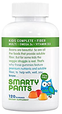 SmartyPants Kids Complete Fiber Multivitamin Omega 3 EPA and DHA Fish Oil Vitamin D3 Methyl B12 Dietary Supplements, 120 Counts