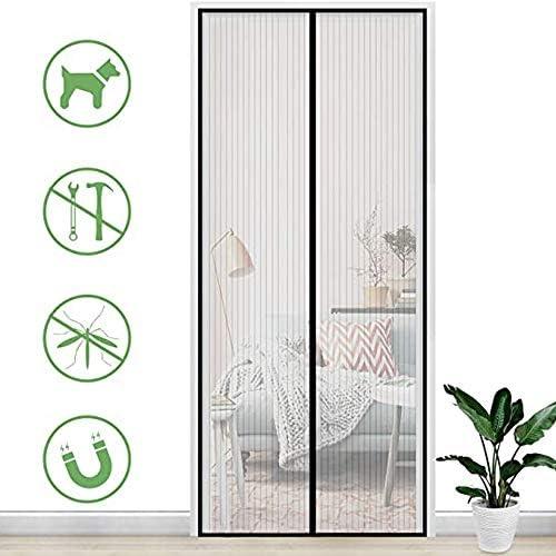 NEWMAKES マグネット式網戸 玄関カーテン 簡易あみ戸カーテン 、抗蚊または抗昆虫用の超静かなストライプ暗号化磁気ソフトドアに使用されています (Color : Black, Size : 85x210CM)